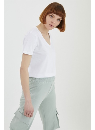 Z Giyim Pamuklu V Yaka T-shirt Beyaz